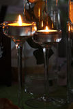 Two candles are lit, romantic evening Stock Photography