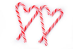Two candy cane heart. Candy cane on white background Royalty Free Stock Photo