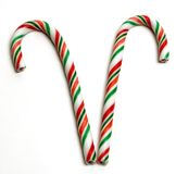 Two candy canes. Side by side christams candy canes Royalty Free Stock Image