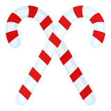 Two Candy Canes Flat Icon on White. Red and white Christmas candy canes flat icon, isolated on white background. Eps file available Stock Illustration