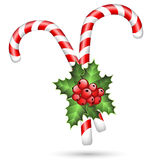 Two candy canes with holly on white Royalty Free Stock Images