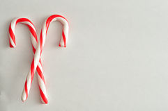 Two candy canes. Isolated on white background Royalty Free Stock Photo