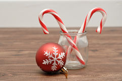 Two candy canes in a jar Royalty Free Stock Photo
