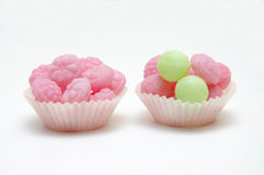 Two candy cup cakes. stock photo