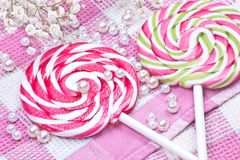 Two candy with flowers Royalty Free Stock Photography