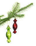 Two candy toys on conifer branch. Christmas and New Year decorations on natural conifer branch, isolated on white royalty free stock image