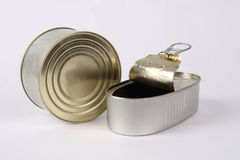 Two canned food. With white background stock image