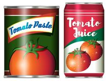 Two canned food products from tomato Stock Photos