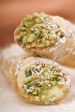 Two Cannoli stacked on each other Royalty Free Stock Photography