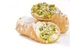 Two Cannoli stacked on each other Stock Images
