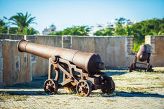 Two cannons. Two ancient cannons inside the pirate fortress Royalty Free Stock Photos