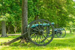 Two Cannons on a Battlefield Stock Image