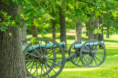 Two Cannons on a Battlefield Stock Images