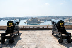 Two cannons in saluting battery on Valletta castle, Malta. Two cannons in saluting battery on Valletta castle Malta Stock Photo