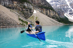 Two canoers. On Moraine Lake Royalty Free Stock Photo