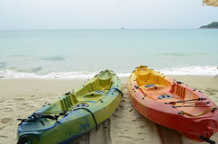 Two canoes on the beach. Two canoes on samed island beach, Thailand Stock Image