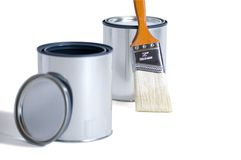 Two Cans One Brush Royalty Free Stock Image