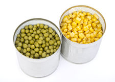 Two cans of vegetables Stock Photos