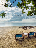 Two canvas bed on beach in cloudy day, Samui, Thailand Royalty Free Stock Photos