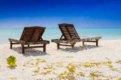two canvas chairs at the beach Royalty Free Stock Image