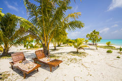 two canvas or deck chairs Royalty Free Stock Photography