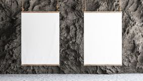 Two Canvas hanged in the gallery with rock wall interior. 3d render stock illustration