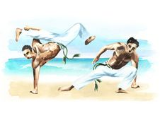 Two capoeira fighters on the beach, concept about people, lifestyle and sport, watercolor hand drawn  illustration.  Stock Image
