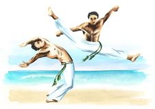 Two capoeira fighters on the beach, concept about people, lifestyle and sport, watercolor hand drawn  illustration.  Royalty Free Stock Image
