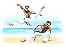 Two capoeira fighters on the beach, concept about people, lifestyle and sport, watercolor hand drawn  illustration.  Stock Photos