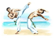 Two capoeira fighters on the beach, concept about people, lifestyle and sport, watercolor hand drawn  illustration.  Stock Images