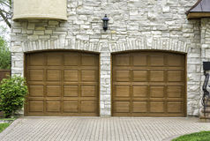 Two car arch wooden garage royalty free stock image