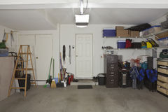Two Car Garage. Common two car garage in a modern suburban home Royalty Free Stock Photography