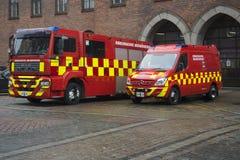 Two car municipal fire service. Copenhagen Stock Photo