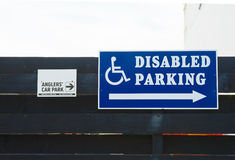 Two car parks, anglers and disabled. Two car park signs, one for anglers and one for the disabled Stock Images