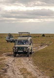 Two car safari. In the savannah of Kenya, is a picture vertically on a cloudy day Royalty Free Stock Images