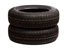 Two car tires isolated Stock Photos