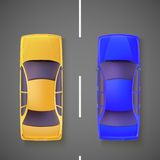 Two car, top view. Royalty Free Stock Images