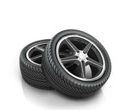 Two car wheels Stock Images