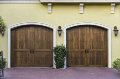 Two car wooden arch garage Stock Image