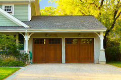 Two car wooden garage Stock Images