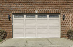 Two car wooden garage. Traditional two car wooden garage Royalty Free Stock Photo