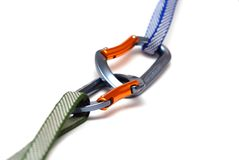 Two carabiners Royalty Free Stock Image