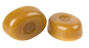 Two caramel candies Royalty Free Stock Image