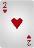 Two card hearts poker. Vector two hearts card poker with red letters and white card for casino poker royalty free illustration