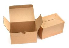 Two cardboard boxes Royalty Free Stock Images