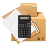 Two cardboard boxes, folder, form and calculator. Shipping and storage of parcels. Accounting calculations, filling accompanying documents. Isolated on white vector illustration
