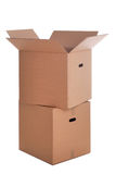 Two cardboard boxes isolated Royalty Free Stock Photo