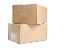 Two Cardboard Boxes Isolated on White #2 Royalty Free Stock Photo