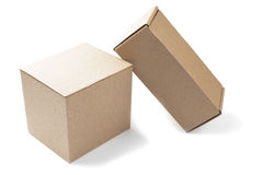 Two cardboard boxes on isolated white background Royalty Free Stock Images
