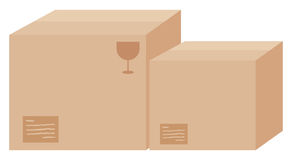 Two cardboard boxes with labels vector illustration